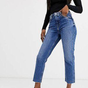 Topshop Rigid Straight Leg High Waisted Jeans 30